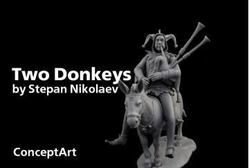 Two Donkeys 75mm